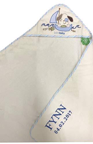 Kapuzenhandtuch bestickt mit Name und Geburtsdatum / 100x100 cm/kuschelig weich / 1A Qualität (Beige - HUND im SEGELBOOT)