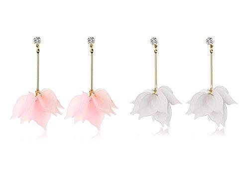 Vnox 2 Paar Damen Mädchen 18K Gold überzogen Acryl rosa Blume Strass große baumeln Tropfen Ohrringe für (Senf Kostüm Machen)