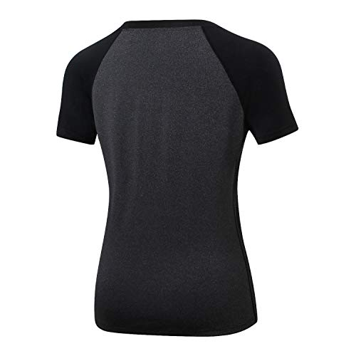 B-commer Frauen O Neck Kurzarm Patchwork LäSsige Yoga Sport Enge Schnell Trocknende ElastizitäT Bluse Tops T-Shirt Outdoor Gym Aktive Sommer T