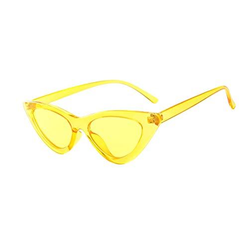 VENMO Mode Herren Retro kleine ovale Sonnenbrille für Damen Metallrahmen Shades Brillen Katzenauge Metall Rand Rahmen Damen Frau Mode Sonnebrille Gespiegelte Linse Women Sunglasses (L-Gelb)