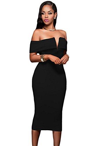 Z-one Damen Sexy V-Ausschnitt Aus Der Schulter Abend Bodycon Club Midi Kleid (XL, Schwarz) (Plus Anzüge Kleider Größe)
