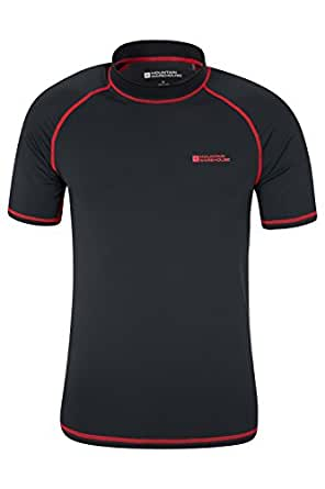 Mountain Warehouse Mens UV Rash Vest with UPF50+ Sun Protection Treatment - Quick Drying Stretch Fabric, Ideal for Swimming and Summer Days Outdoors Black X-Small