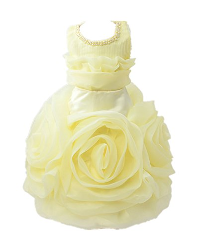 Beunique@ Mädchen Große Rose ärmellose Hochzeit Kinder Kleiden Sich Prinzessin Kleid
