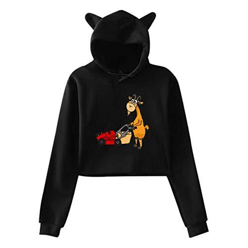 Yaouihur Das Katzenohr-Hoodie-Logo der Frauen der lustigen Ziege Rasenmäher-lumbalen Pullover-Sweatshirt XL drückend