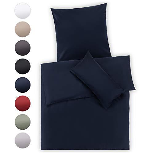 Blumtal Mako Satin Bettwäsche 155x220 cm mit Kissenbezug 40 x 80 cm - 100% Baumwolle, Superweiches Bettbezug Set, Dark Ocean Blue