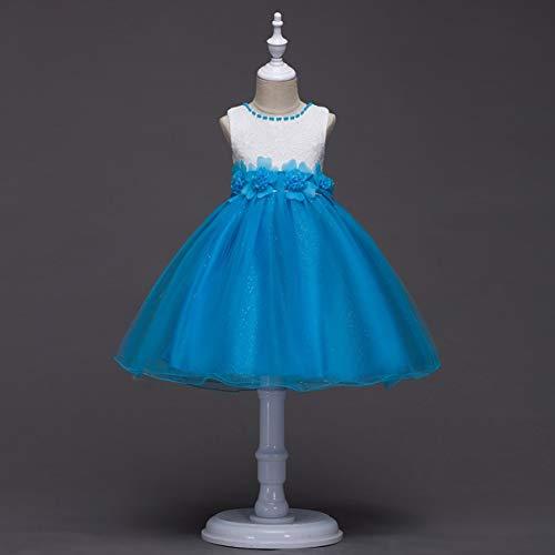 EdBerk74 Sky Blue Baby Girl Flower Lace Grenadine Bubble Skirt Niños sin Mangas Princesa Vestido de tul Vestido de Fiesta de UNA pieza Vestido Azul Cielo Blue Bubble Kleid