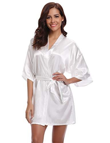 Aibrou Damen Morgenmantel Kimono Satin Kurz Robe Bademantel Nachtwäsche Sleepwear V Ausschnitt mit Gürtel (Medium, Weiß-Neu) - Für Seide Roben Kurze Kimono Frauen