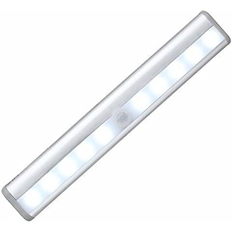 OxyLED T-02 Barra de Luz LED Nocturna inalámbrica con sensor de movimiento Wireless para Armario de Gabinete. Luz: 10 – LED; Barra de Luz con Tira Magnética (Operada con Baterías); Eficiencia energética A+++ y color