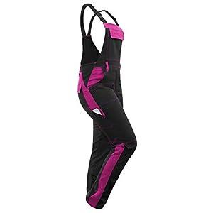 strongAnt® - Damen Arbeitshose Arbeits-Latzhose Stretch für Frauen mit Kniepolstertaschen. Baumwolle Kombihose Schwarz-Pink