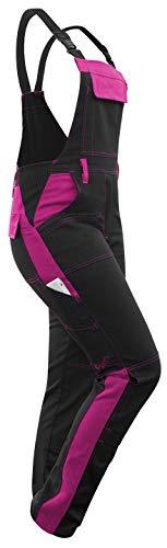 strongAnt® - Damen Arbeitshose Arbeits-Latzhose Stretch für Frauen mit Kniepolstertaschen. Baumwolle Kombihose Schwarz-Pink 18