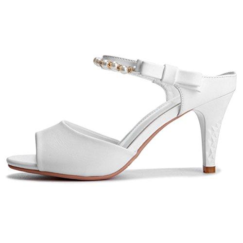 Damen Sommer Runde Fischkopf Zehen Riemenband mit Strass und Bowknot Trichterabsatz Elegante Einfache Slip-on Pumps Sandalen Weiß