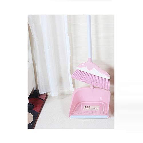 Hzpxsb combinazione di scopa in plastica per capelli morbidi per famiglie -32,6/35,4 pollici manico per spazzatura singola spazzatura combinata e gruppo di spazzata con impugnatura verticale per cas