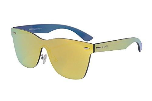SHINU Flash-Spiegel-Objektiv-Sonnenbrille Randlos Sonnenbrille UV400 Schutz Wayfarer-SH71001 (c1)