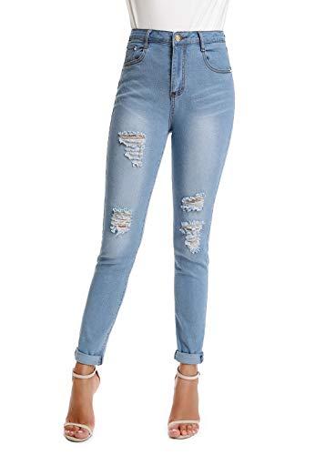 kefirlily Denim Damen Hight Waist Jeans Hose Röhrenjeans mit Riss am Knie Ladies Jeans Skinny, Stretch Jeans Damen, Damen Zerrissene Jeanshosen -