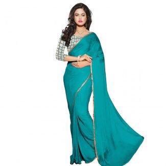 ( AG Lifestyle Women\'s Chiffon Saree & Embroidared net blouse pice) Saree