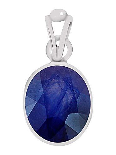 ArenaGems Medaillon Silber mit blauem Saphir 10,50 Karat (750) Anhänger aus echtem zertifiziertem Edelstein für Damen und Herren (Herren Blau Saphir Anhänger)