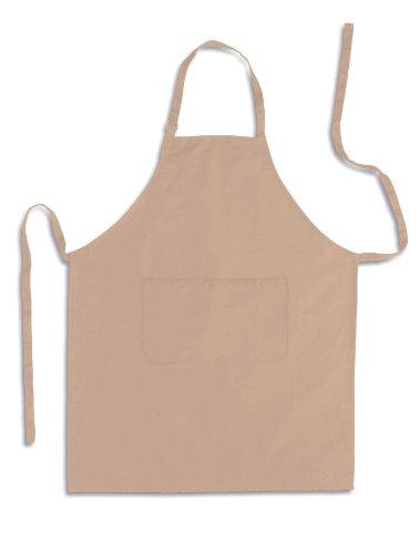 Küchenschürze - Grillschürze - Latzschürze, CREME, 100% Baumwolle, 70 x 85 cm, mit verstellbarem Nackenband und aufgesetzter Tasche vorne. (Schürze Creme)