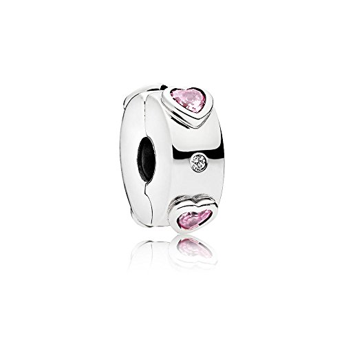 Pandora Moments Funkelnde rosafarbene Herzen Charm Sterling Silber 796591FPC