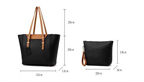 HQYSS Damen-handtaschen Mode Atmosphäre Ms europäischen und amerikanischen Stil 2 Stück Tasche + Schulter Tasche black