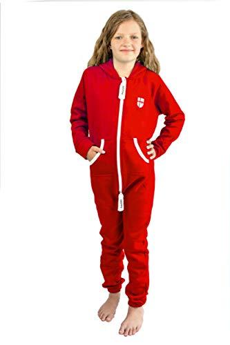 Gennadi Hoppe Kinder Jumpsuit Overall Jogger Trainingsanzug Mädchen Anzug Jungen Onesie,rot,7-8 Jahre