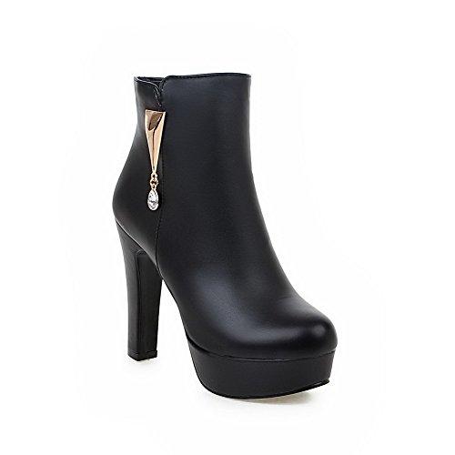 AgooLar Damen Niedrig-Spitze Eingelegt Reißverschluss Hoher Absatz Stiefel mit Schleife, Schwarz, 37
