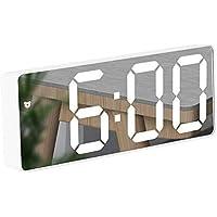 Réveil Miroir, Réveil Numérique avec Affichage à LED de Date/Température/Snooze/ 2 Alarme/Port de Recharge USB, pour…