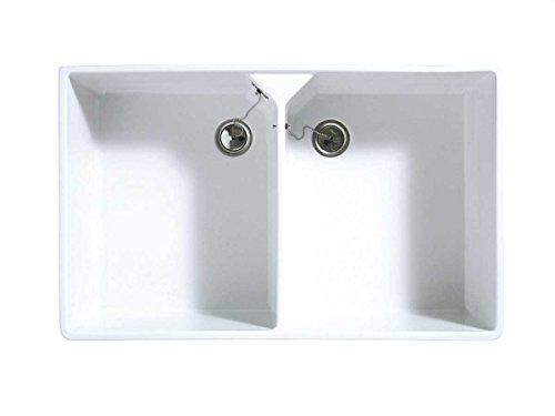 Astracast Sudbury 2.0 Weiß Hochglanz Keramik-Spüle Aufsatzspüle Spülbecken Küche