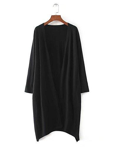 BaiChunYunYi Longue Cardigan Femme Sortie Décontracté / Quotidien simple,Couleur Pleine Col en V Manches Longues Coton Printemps Automne Fin Moyen Black