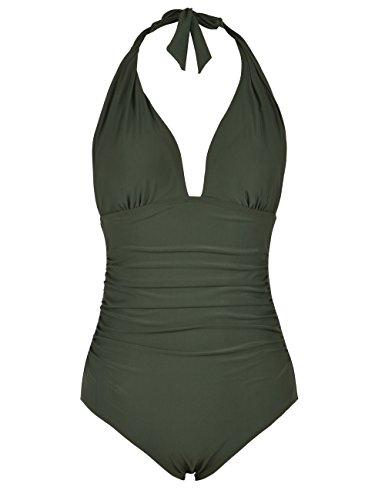 Hilor Damen Plunge tiefer v-Ausschnitt Badeanzug Bauch-Steuer Monokinis Bikinis 12 dunkle Armee-grün -