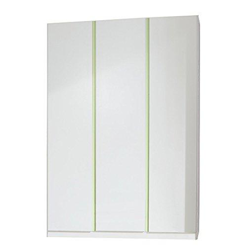 Wimex Kleiderschrank 319202 Bibi, Weiß, Abs. Apfelgrün, 90 cm Breite, Mira