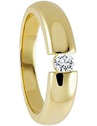 Diamond Line Damen Ring Solitaire 585 Gelbgold 1 Brillant 0.15 ct. getöntes Weiß Lupenrein, gelbgold / weißgold