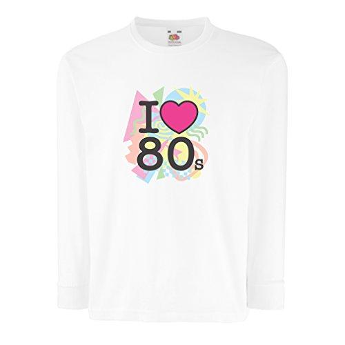 angen Ärmeln Ich liebe 80er Konzert t-shirts Weinlese Kleidungs Musik t-shirts geschenke (5-6 years Weiß Mehrfarben) (Ich Liebe 80er-jahre-shirt)