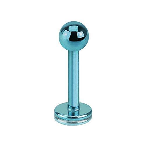 Piercingfaktor Piercing Stab Stecker Lippenpiercing Lippe Monroe Labret Lippen Ohr Tragus Helix Stud mit Kugel Innengewinde 1,6mm x 10mm x 4mm Hellblau