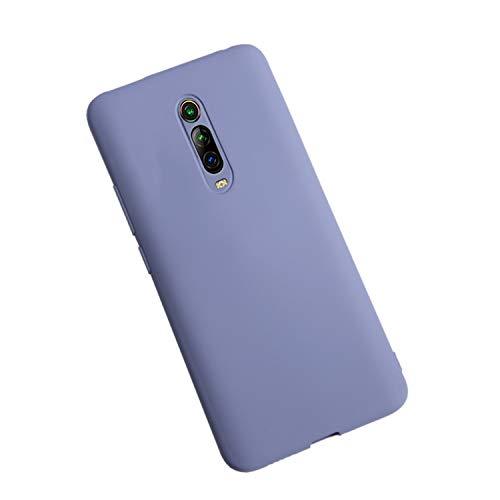 XunEda Cover per Xiaomi Mi 9T,Xiaomi Mi 9T PRO Custodia, Ultra Sottile Custodia in Silicone Liquido Cover Protettiva Case +Pellicole Protettive per Xiaomi Mi 9T,Mi 9T PRO Smartphone(Grigio Lavanda)