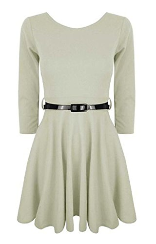 Momo Fashions - Jeunes Femmes manches 3/4 Robe patineuse EUR Taille 36-42 Blanc
