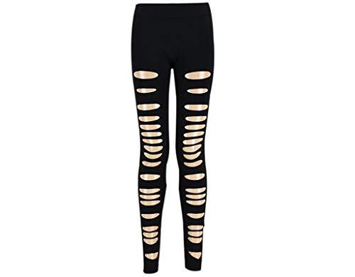 BIRAN-5 Punk Leggins De Mujer Leggings Rotos Único Recortados Pantalones con Agujeros Chern Pantalones De Lápiz (Color : Negro, Size : One Size)