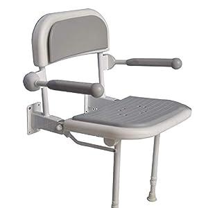 Verstellbarer Duschsitz zur Wandmontage mit freiem Haltegriff Bar Badewannenhockersitz mit strapazierfähigen Aluminiumbeinen for Schwangere, Senioren, Behinderte und Behinderte ( Color : Blau )
