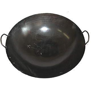 Asia Art Factory AAF Nommel ® Wok Ölwanne ca. 65 cm Durchmesser mit 2 Griffen/Henkeln mit rundem Boden für Gas, Gastronomie