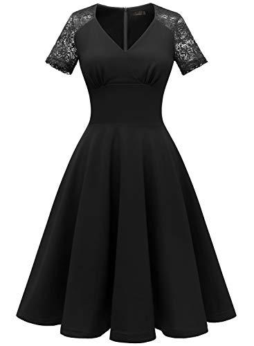 IVNIS Damen 1107 Wickelausschnitt mit Spitzen A-Linie Kurzarm Rockabilly Casualkleid Cocktail Kleider Partykleid Schwarz M
