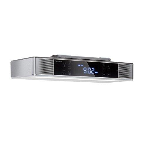 Auna KR-140 • Radio de Cuisine encastrable • Tuner FM-PLL • Bluetooth • 40 Stations programmables • Éclairage LED • Écran Tactile étanche • Double Alarme • Argent