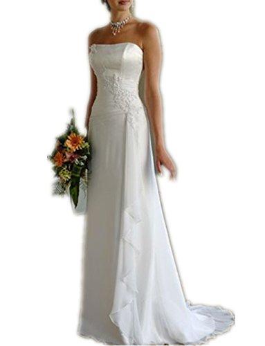 YASIOU Brautkleid Damen Lang A Linie Weiß Spitze Trägerlos Einfach Hochzeitskleid mit Schleppe
