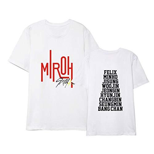 SERAPHY Stray Kids T-Shirt Neues Album MIROH gleiche Kleidung Shirt Kurzärmliges Tops Sommerkleid-1-White-2XL
