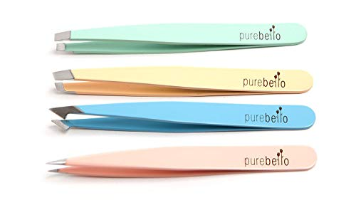 Elegantes Pinzetten Set - 4-teilig - 100% rostfreies Edelstahl - mit Kosmetiktäschchen ß 5 Jahre Garantie - Purebello Qualitätsprodukt
