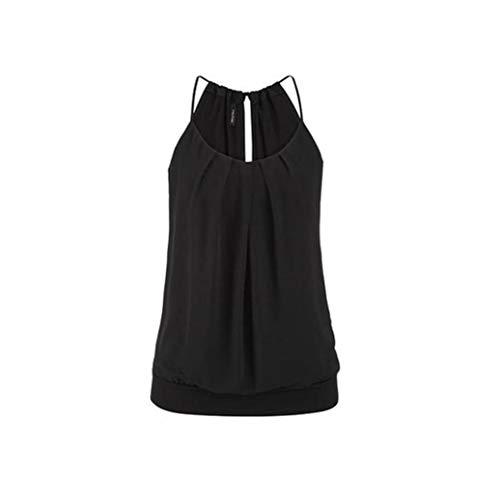 VJGOAL Damen Tank Top, (S ~ 6XL) Damen Mode Chffon lose Leibchen Einfarbig Sommer Ärmellos Plus Size Weste Strand Tops (XL / 42, X-Falten-schwarz)