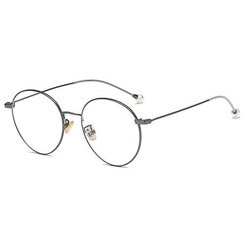 Yiph-Sunglass Sonnenbrillen Mode Zarte einfache Perle Gläser für Frauen Klassische Damenbrillen für Studenten dünne Metallrahmen umrandeten Gläser (Farbe : Silber)
