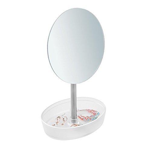 mDesign Espejo de maquillaje giratorio – Espejo redondo con bandeja para joyas o gomas de pelo – Espejo con pie para el baño o el tocador – Mate/metal pulido