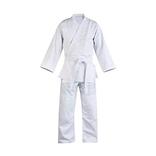 Daytwork Unisex Dobok Karate Anzug Kampfsport Taekwondo Uniform - Kinder Erwachsener Kung Fu Trainingskleidung GI Judo Aikido Sets mit Gürtel Weiß Polyester Baumwolle Langarm -