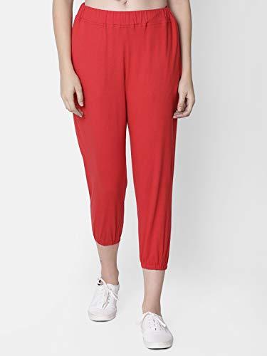 RUTE Women's Cotton Red Solid Legging (Plus