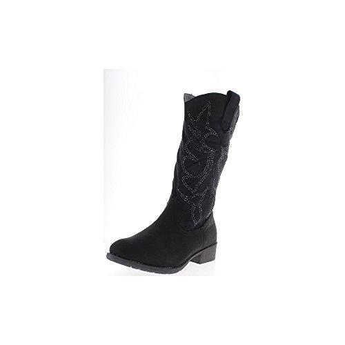 Donne nere stivali con tacco di 3,5 cm materiale bi con strass - 37