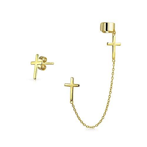 Silber vergoldet Dangle Kreuz verknüpft Ohrringe ohr Manschette eingestellt